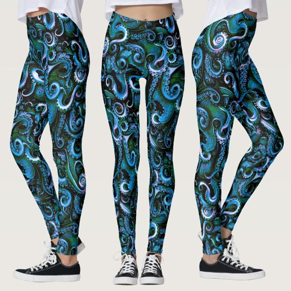 a0a5fd1005315 Blue and Green Octopus Tentacles Leggings – Moose Disco